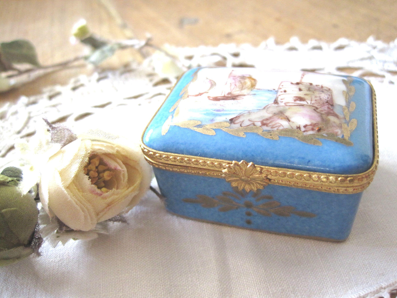 フランスアンティーク リモージュプティボックス ブルー