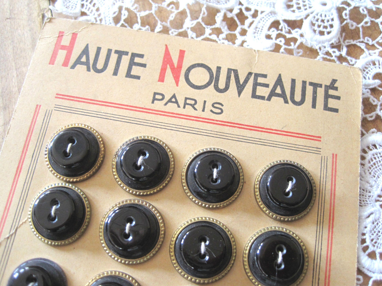 フランスアンティーク ボタンシート24p ブラック φ1,9cm