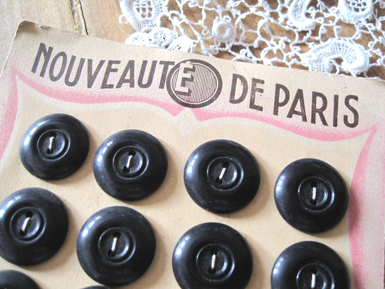フランスアンティーク ボタンシート24p ブラック φ2,1cm
