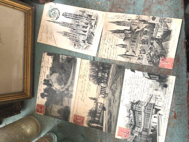フランスアンティーク モノクロポストカード5pセット 1904~06年