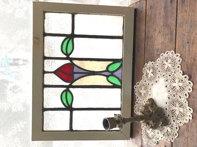 イギリスアンティーク つぼみのお花のステンドグラス 1920年代