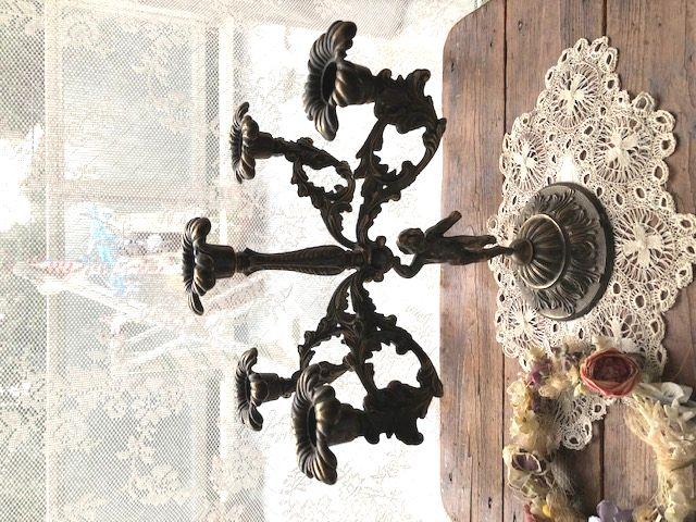 フランスアンティーク 真鍮の5灯キャンドルスタンド アールヌーボー