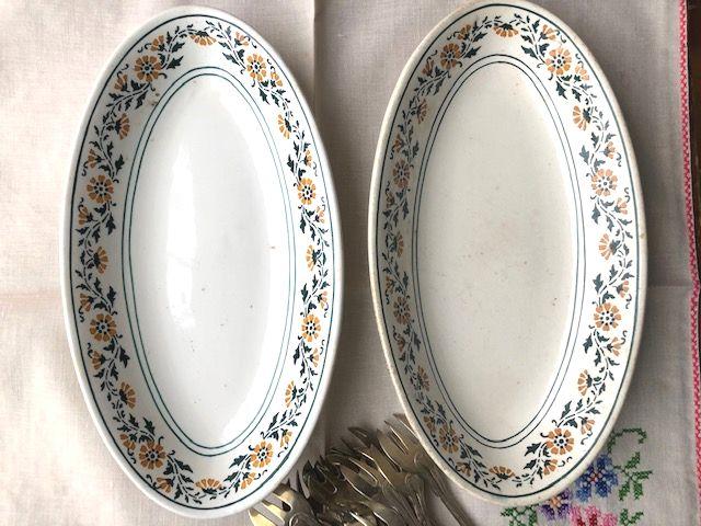 フランスアンティーク リュネヴィルの小花柄のお皿ラヴィエ 2枚セット