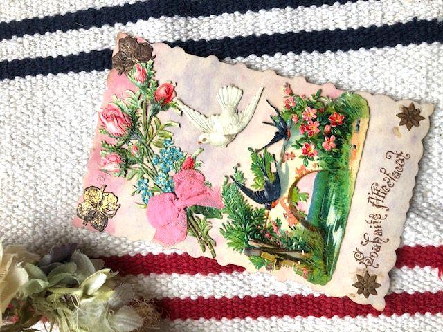 フランスアンティーク 鳩と燕の美しい立体カード