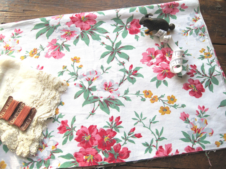 フランスアンティーク コットン花柄ファブリック 白地