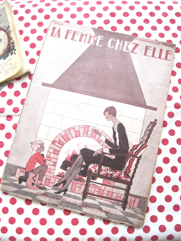 フランスアンティーク 手芸雑誌 LA FEMME CHEZ ELLE A 1928年
