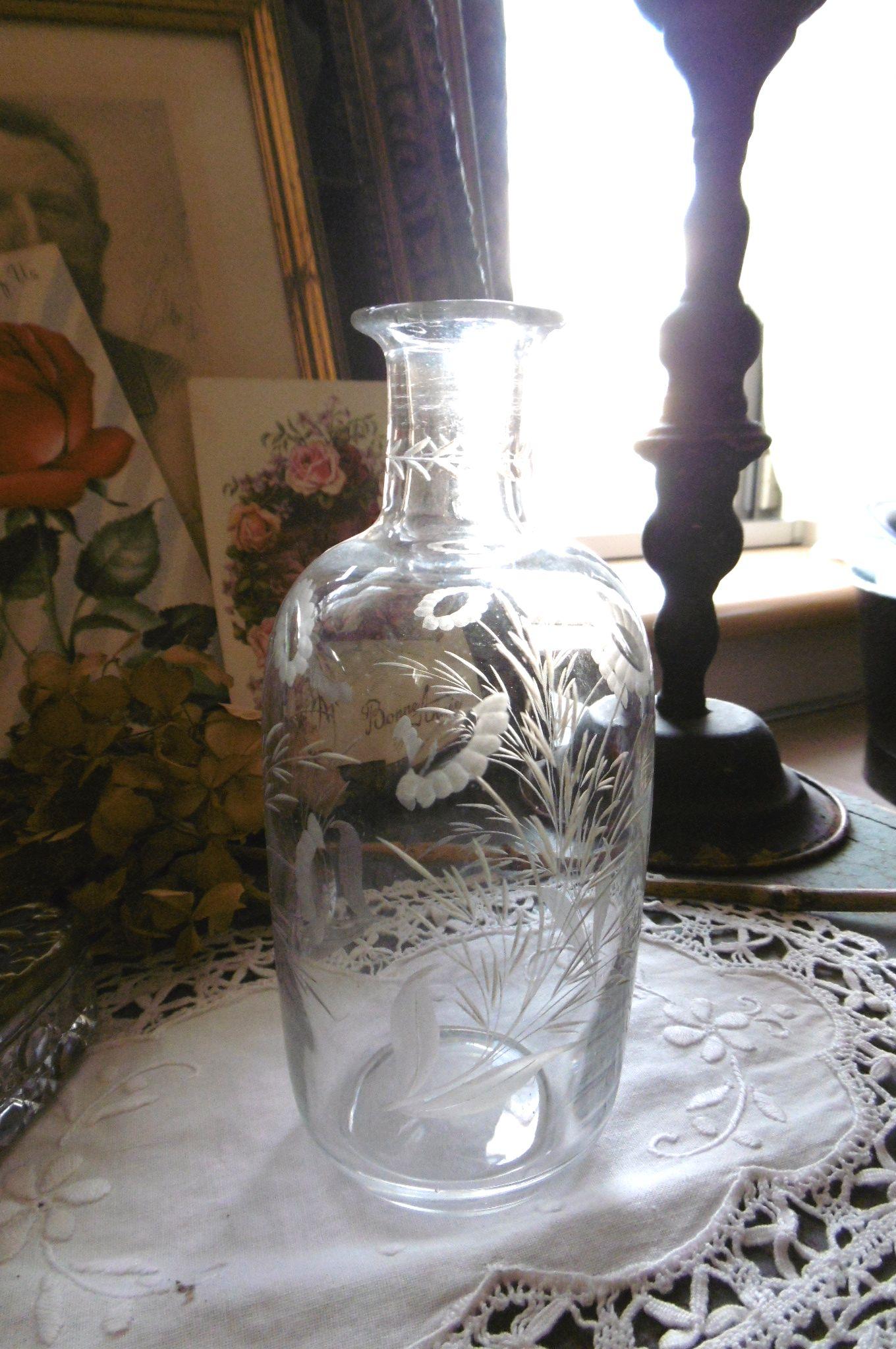 フランスアンティーク お花のエッチンググラス一輪挿し
