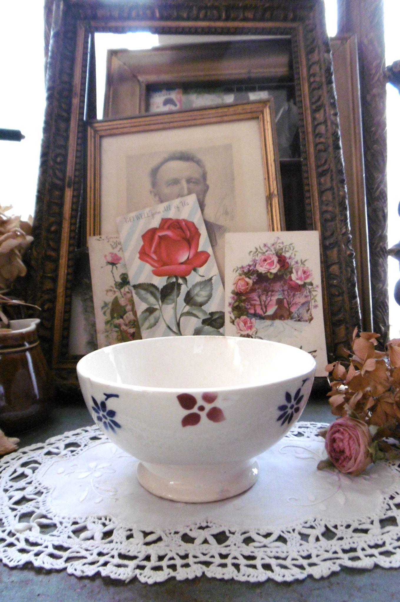フランスアンティーク バドンヴィレの小花ステンシルのカフェオレボウル