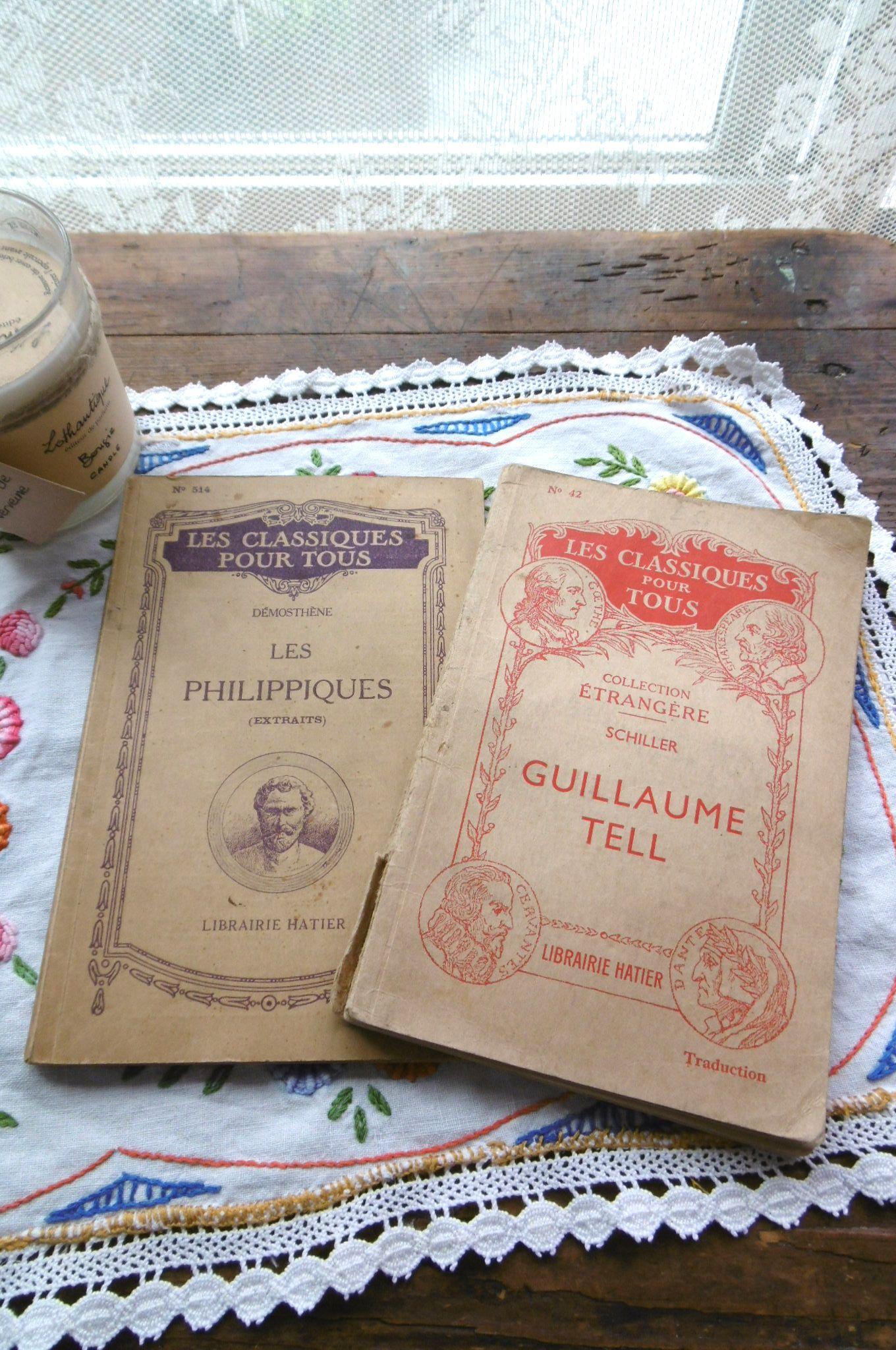 フランスアンティーク 古書LIBRAIRIE HATIER クラシックシリーズ2冊セットA 1930年代