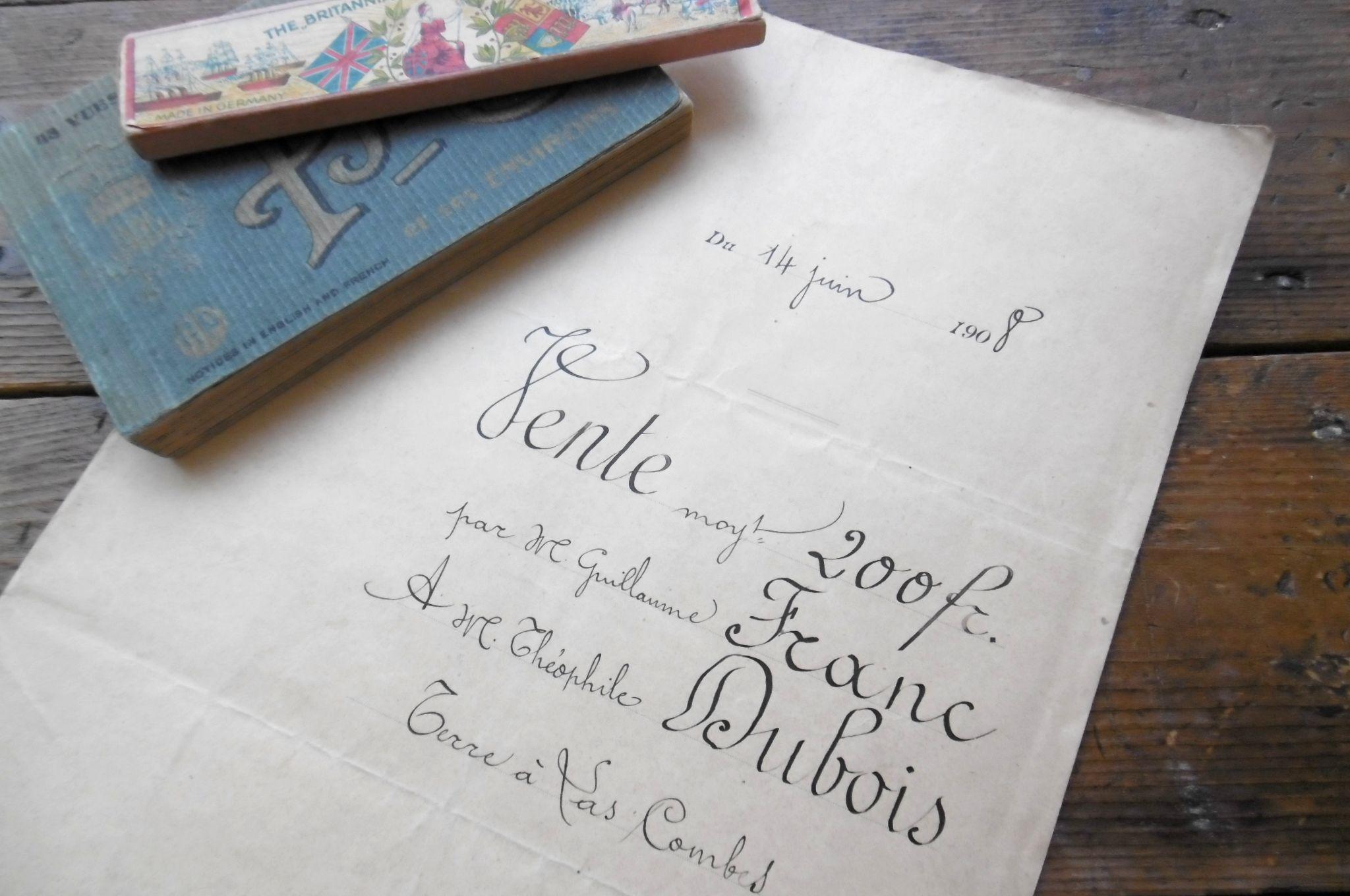 フランスアンティ-ク 古文書マニュスクリ 1908年