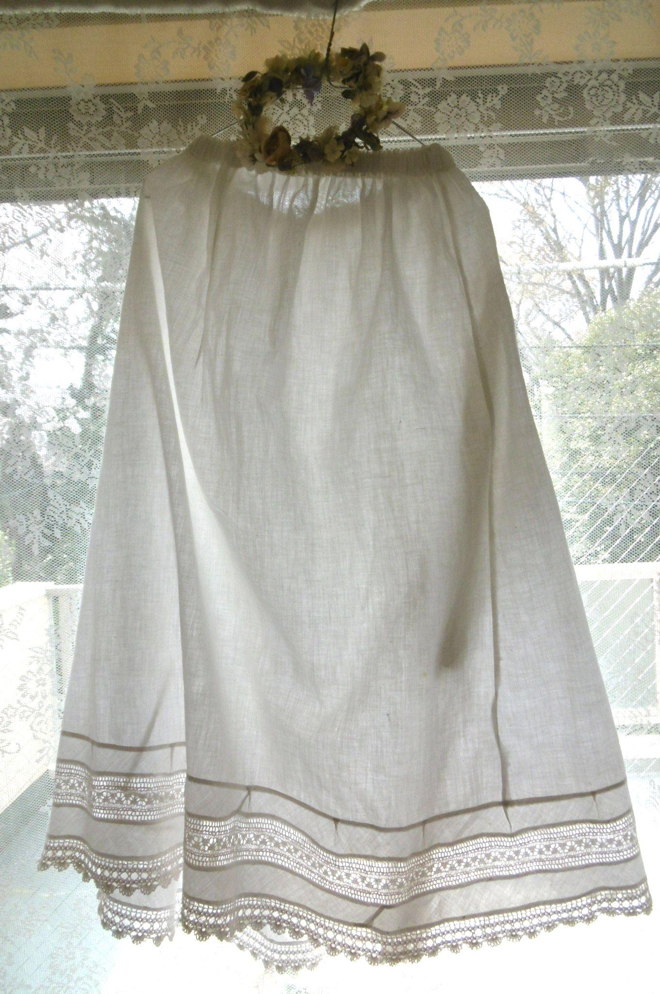 フランスアンティーク コットンレーストリミングスカート