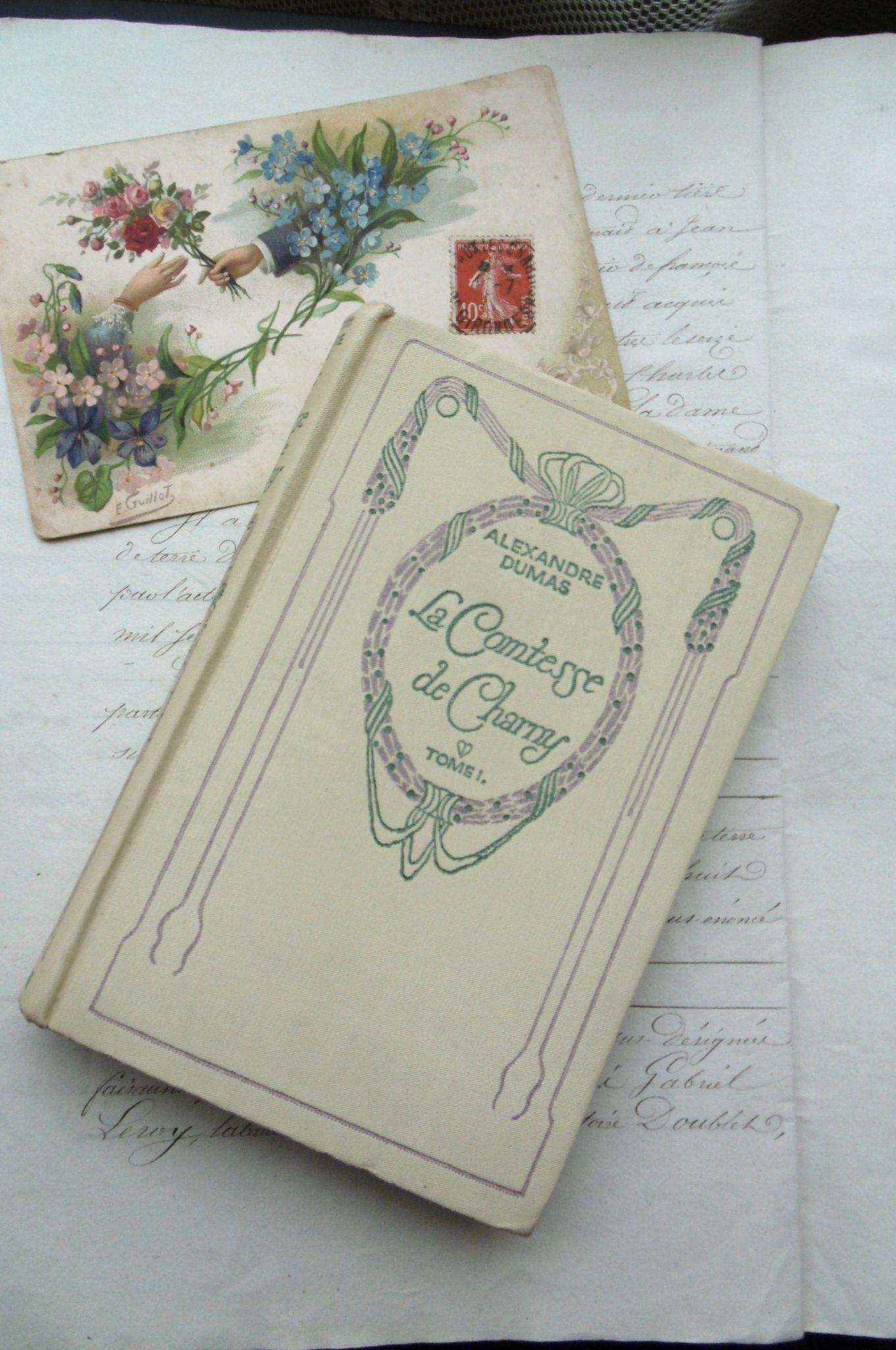 """フランスアンティーク 古書Nの本 """"La Comtesse de Charry"""" Dumas tome1"""