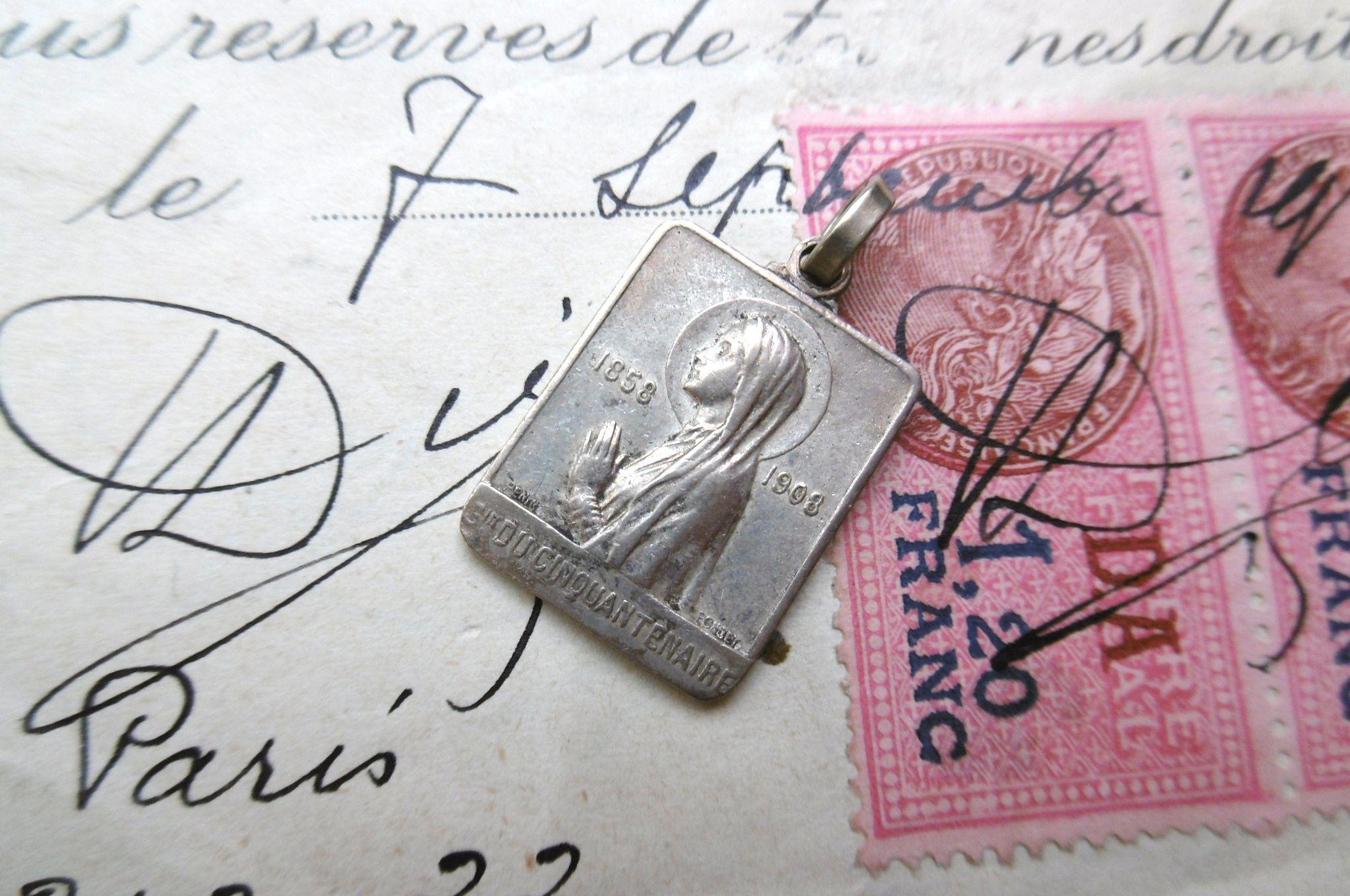 フランスアンティーク 聖母マリア長方形メダイ