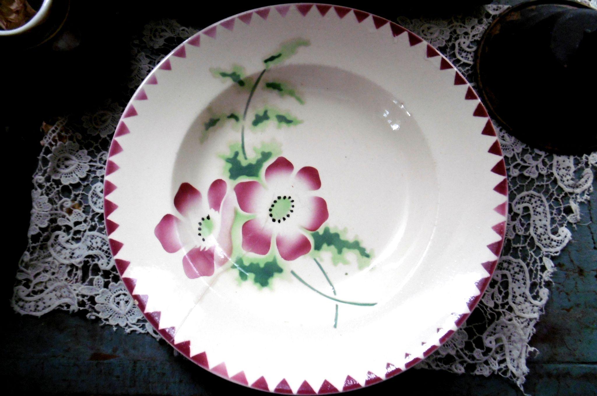 フランスアンティーク ステンシルお花のプレート