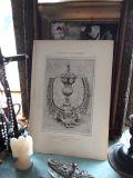 フランスアンティーク 家具パーツ銅版画プリント 1910年代