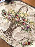フランスアンティーク 花かごの刺繍リネンマット オーバル