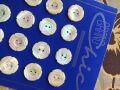 フランスアンティーク お花の貝ボタンシート24個 B Φ1,6cm
