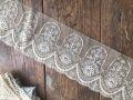 フランスアンティーク お花のチュールレーステープ モカ 幅広9,5cm