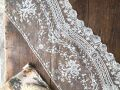 フランスアンティーク お花とリボンの繊細なチュールレースA 幅広21cm