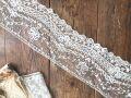 フランスアンティーク お花とリボンの繊細なチュールレースB 幅広10cm