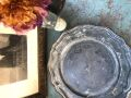フランスアンティーク 味わいのあるピュータープレート 花びらリム