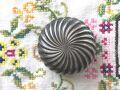 フランスアンティーク シルバープレートの小さなパフケース