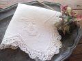 フランスアンティーク お花刺繍リネンハンカチーフ