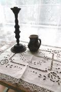 フランスアンティーク リネンカットワーク刺繍レースドイリー バラ柄