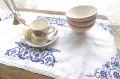 フランスアンティーク リネン刺繍テーブルマット レクタングル