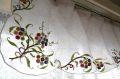 フランスアンティーク リネン花刺繍カフェカーテン W178cm