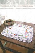 フランスアンティーク 花刺繍リネンドイリー レクタングル