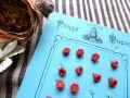 フランスアンティーク ドールドレス用お花ガラスボタン レッド 1個売り