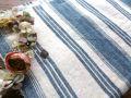 フランスアンティーク ブルーラインのリネン古布 1800年代