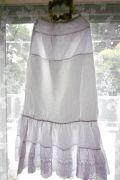 フランスアンティーク コットンカットワークレースペチコートスカート