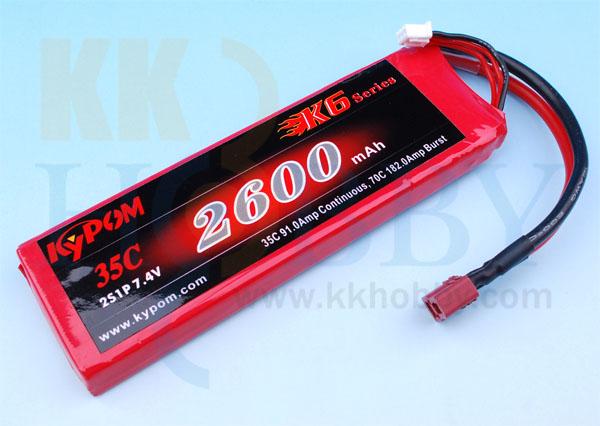 リポバッテリー KYPOM K6 7.4V 2600mA 35C-70C