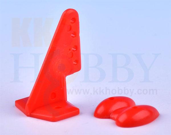 カラー三角ホーン(高さ27mm:4穴 レッド)4個入