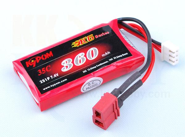 リポバッテリー KYPOM K6 7.4V 360mA 35C-70C