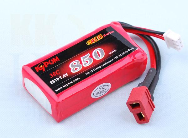 リポバッテリー KYPOM K6 7.4V 850mA 35C-70C