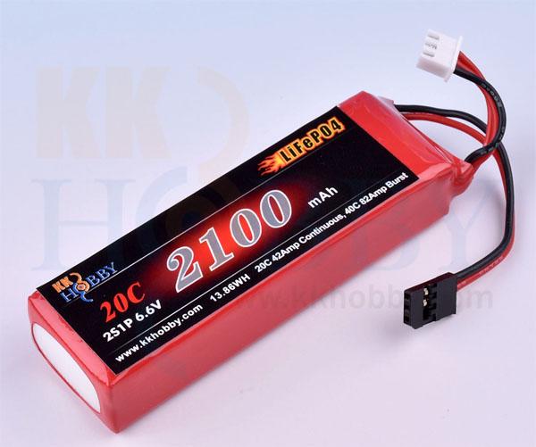 【四角型】受信機用LiFeバッテリー KKHOBBY 6.6V 2100mA