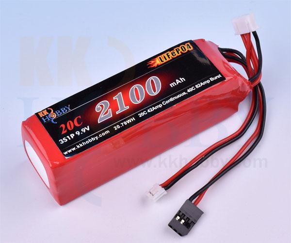 【四角型】プロポ用LiFeバッテリー KKHOBBY 9.9V 2100mA