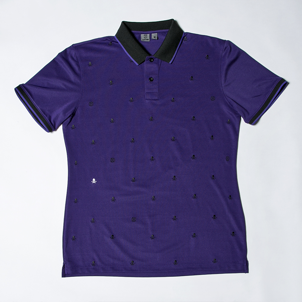 G/FORE Men's Skull & TS Embroidery Polo Purple