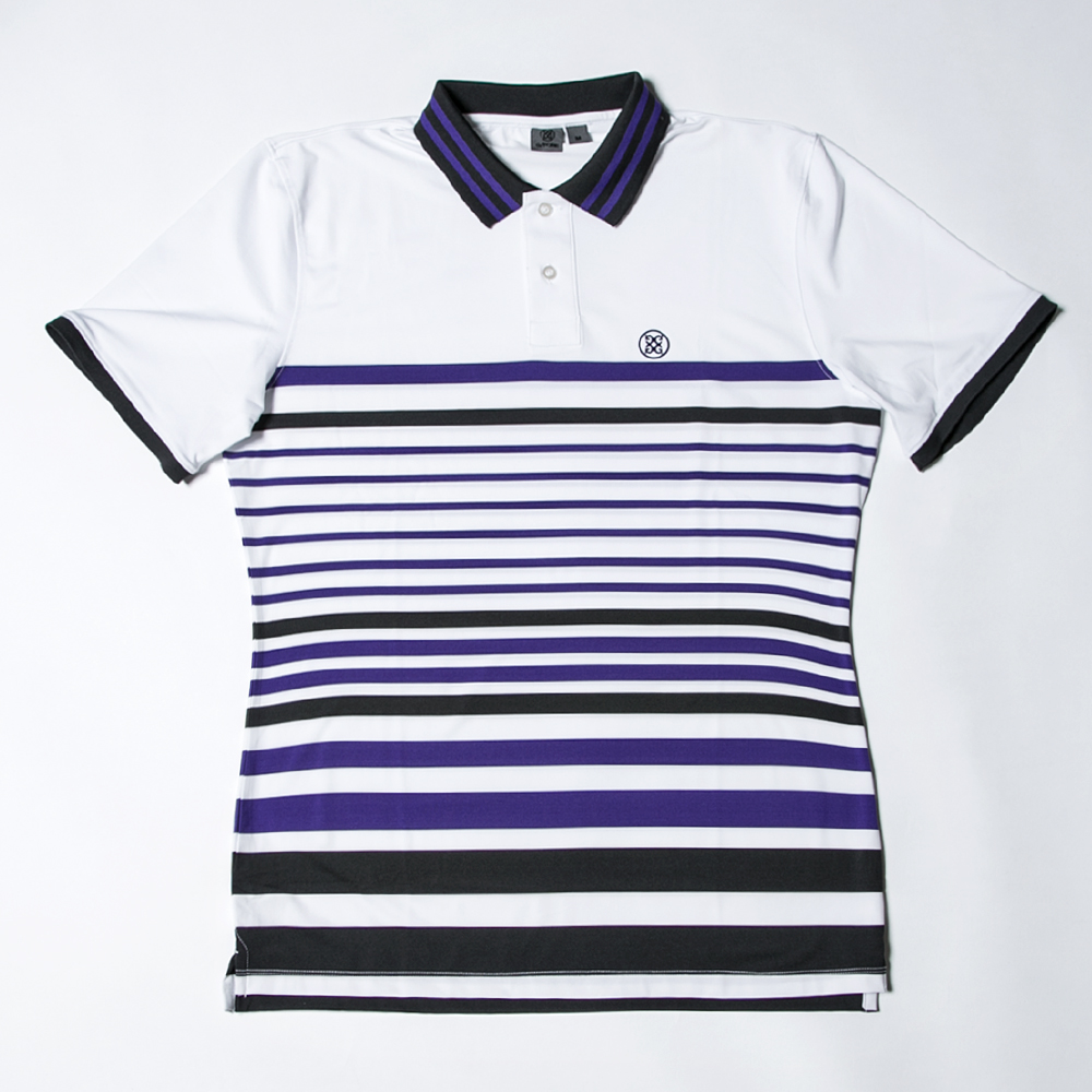 G/FORE Men's Variegated Polo White x Purple
