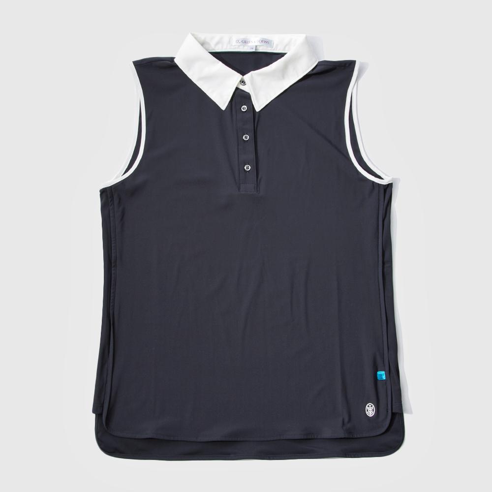 GILLES & LOEWS Women's No Sleeve Polo Shirt Navy