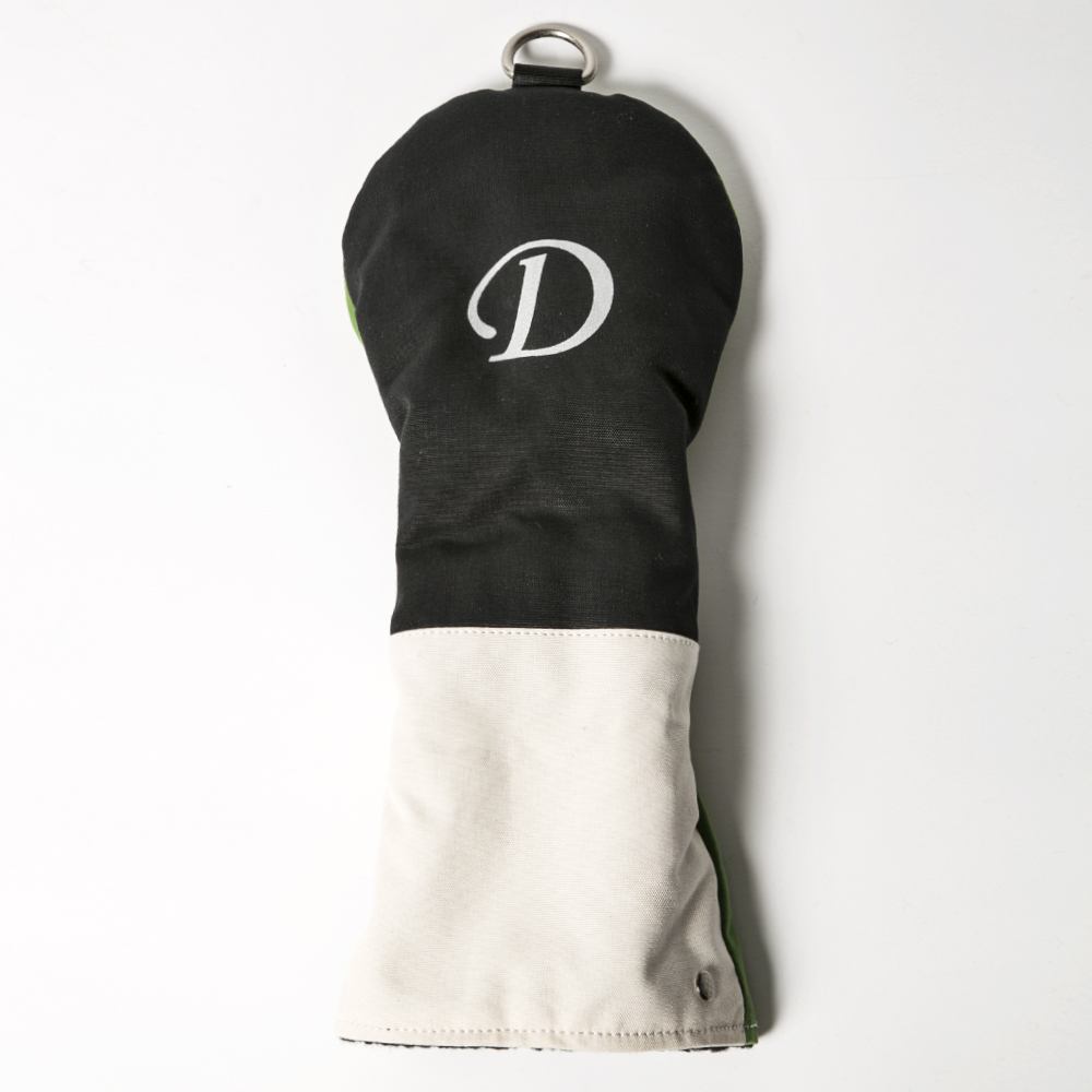 Knee Deep Driver Cover D Cotton Canvas Black x Ivory x Green