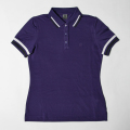 G/FORE Women's Striped Rib Polo Snow Purple