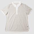 GILLES & LOEWS Women's Italian Collar Polo Shirt Beige x White