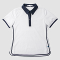 GILLES & LOEWS Women's Italian Collar Polo Shirt White x Navy