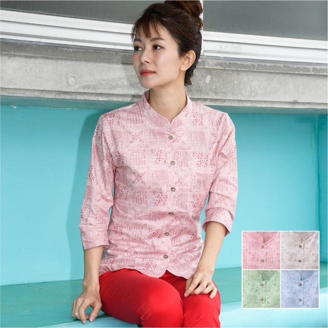 かりゆしウェア 沖縄産アロハシャツ レディース 伝統文様柄 マオカラー 七分袖
