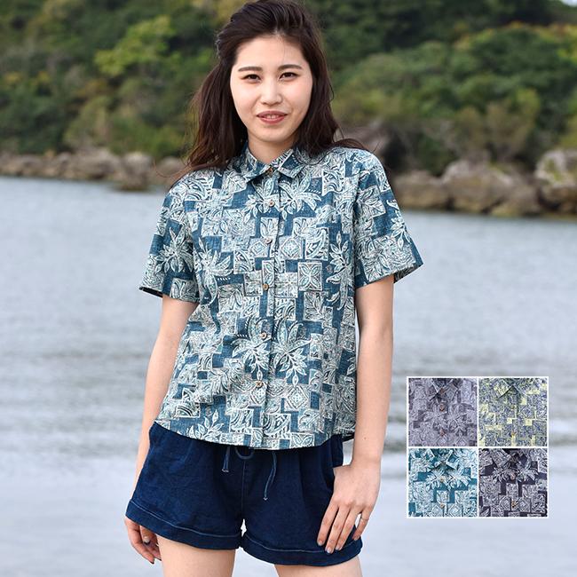 かりゆしウェア 沖縄 アロハシャツ レディース デイゴ パッチワーク柄 シャツカラー