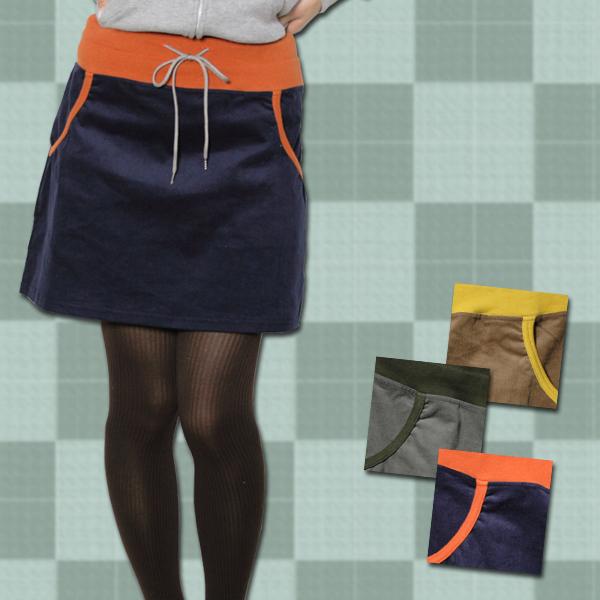 コーデュロイ配色リラックスミニスカート